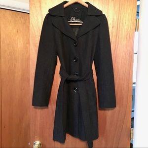 Guess Dark Grey Wool Blend Trench Coat Size Medium